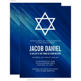 Navy blue Bar Mitzvah invitations