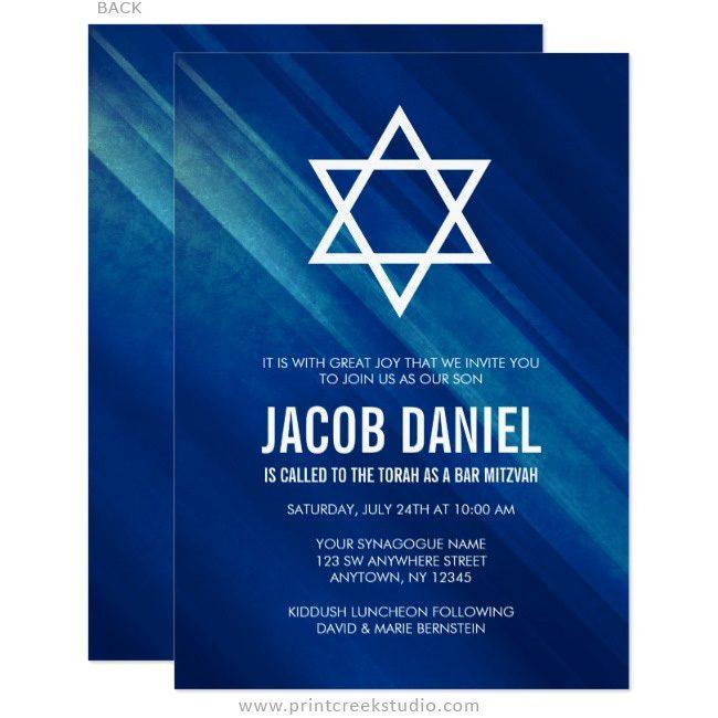 Navy blue Bar Mitzvah invitations