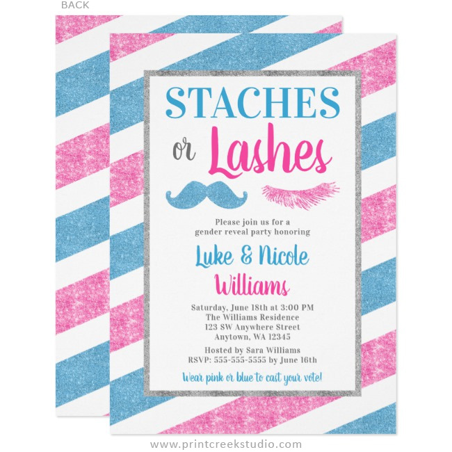 Staches or Lashes Gender Reveal Party Baby Shower Invitations
