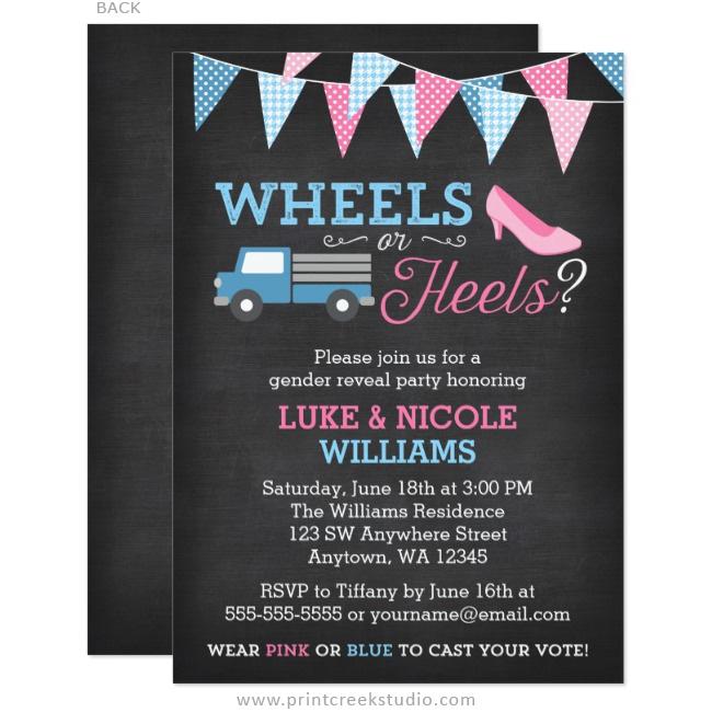 Wheels or Heels Gender Reveal Party Invitations Print Creek Studio Inc