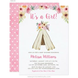 Boho baby shower invitations with a teepee and flowers.