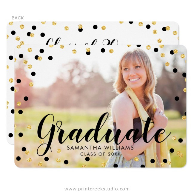 Black and gold graduation announcements