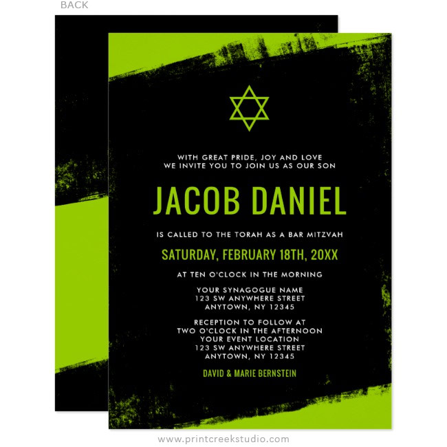 Lime green and black grunge styled Bar Mitzvah invitations.