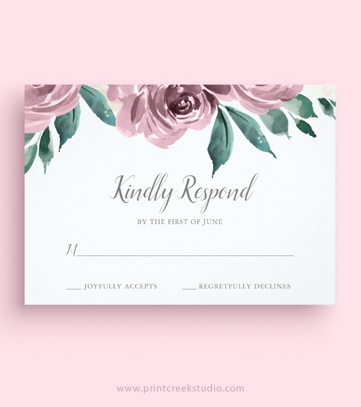 Wedding RSVP Cards Print Creek Studio Inc