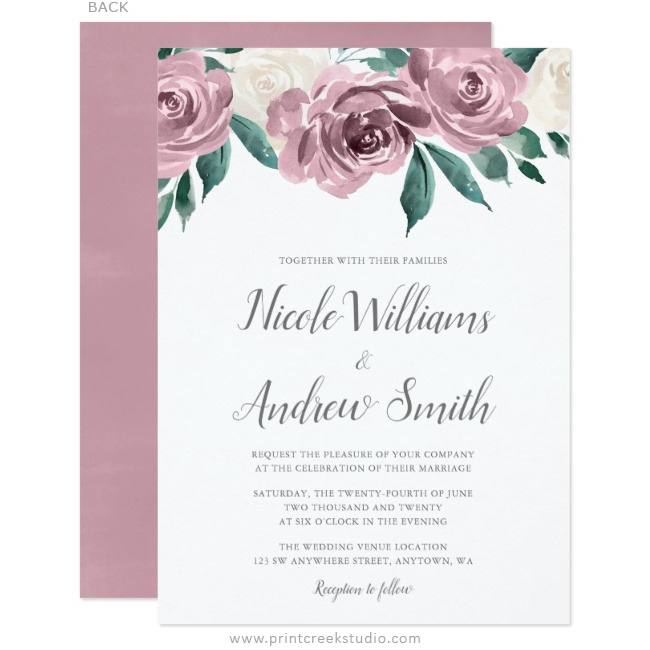 Mauve wedding invitations with watercolor roses.