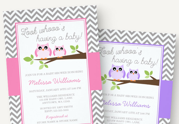 Owl baby shower invitations for girls