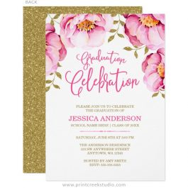 Floral watercolor graduation announcement in pink and gold.