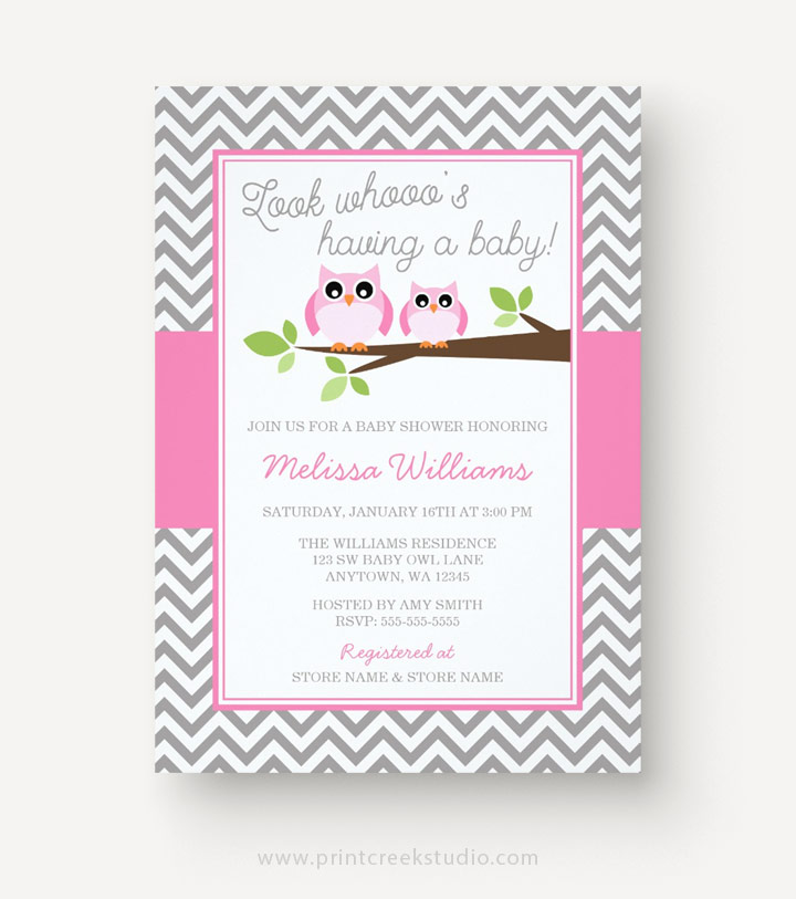 Pink And Gray Owl Baby Shower Invitations For A Girl.