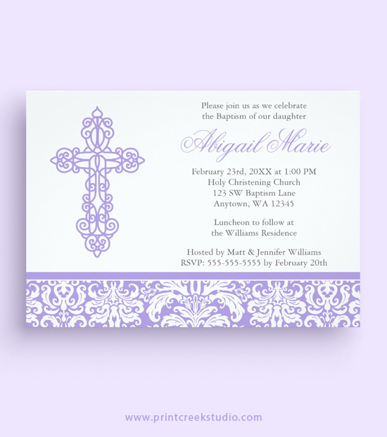 Lilac purple baptism invitations