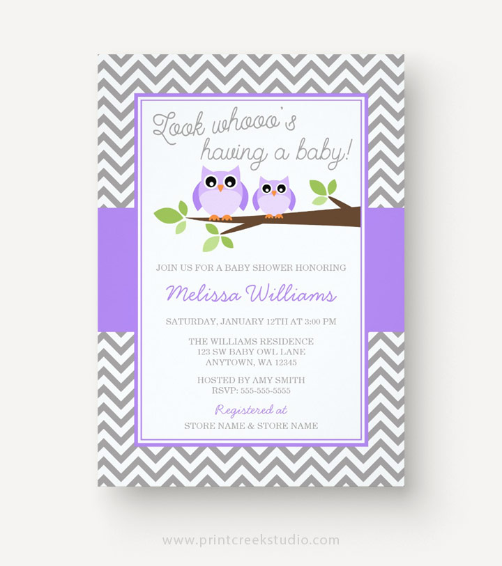 Purple and gray owl baby shower invitations for a girl.
