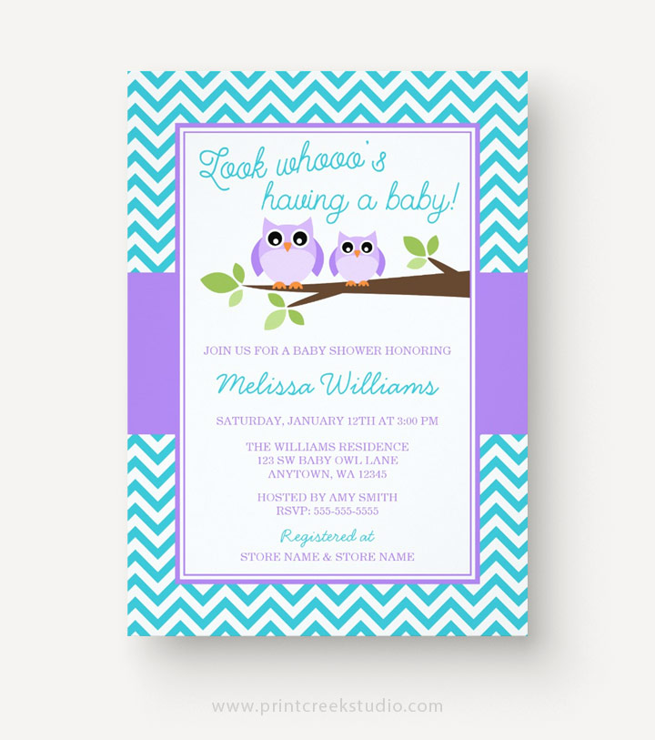 Purple and teal owl baby shower invitations.