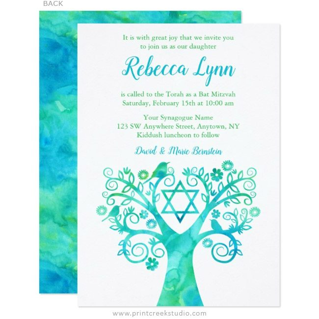 Teal blue and green Bat Mitzvah invitations with a watercolor tree of life.