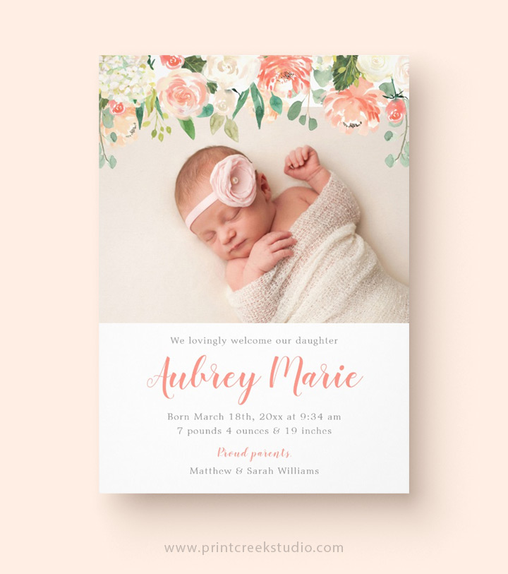 Modern floral birth announcement for a baby girl.
