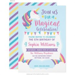Unicorn birthday invitations with a rainbow and clouds.