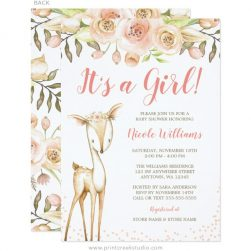 Baby shower invitations birth announcements print creek studio inc watercolor deer girl baby shower invitations filmwisefo