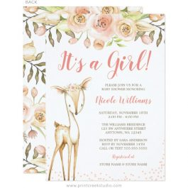 Girl deer baby shower invitations