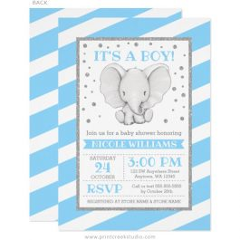 Blue elephant boy baby shower invitations