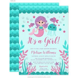 Mermaid girl baby shower invitations