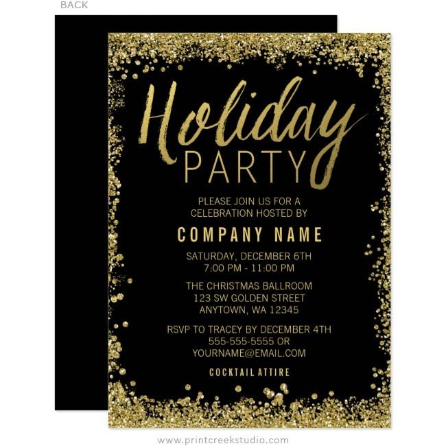 Gold Glitter Holiday Party Invitations