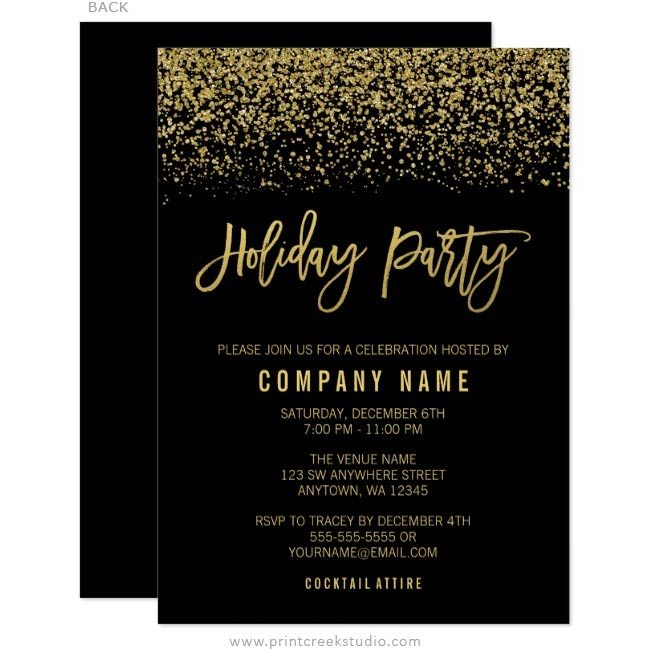 Black and Gold Holiday Party Invitations
