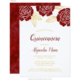 Burgundy Gold Quinceanera Invitations