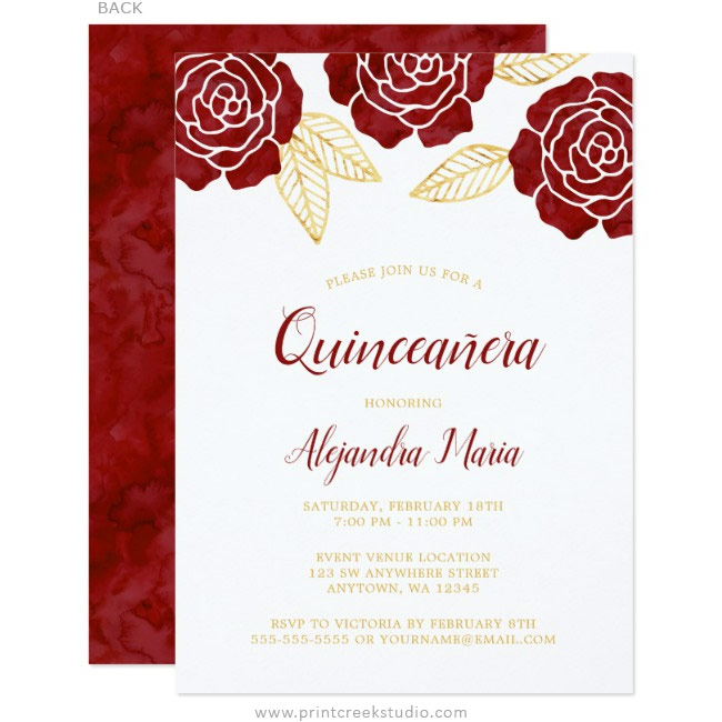 modern burgundy gold roses quinceanera invitations print creek