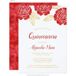 Red Gold Quinceanera Invitations