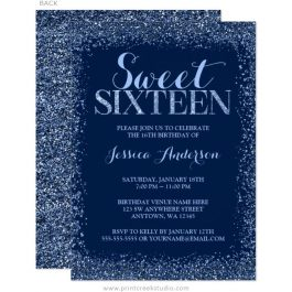 Navy Blue Sweet 16 Birthday Invitation