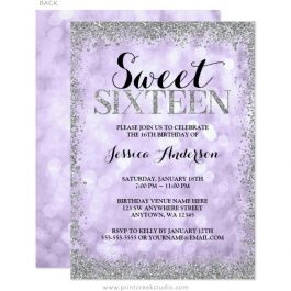 Purple Silver Sweet 16 Invitations