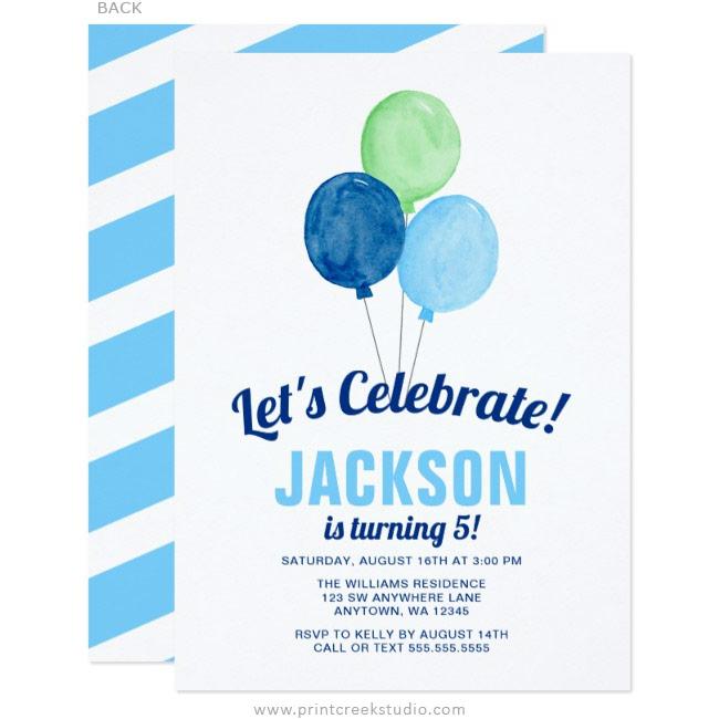 watercolor balloons boy birthday invitations print creek studio inc