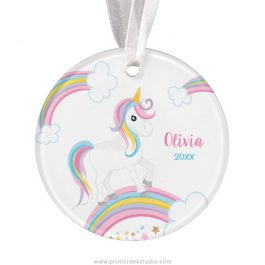 Unicorn Personalized Christmas Ornament