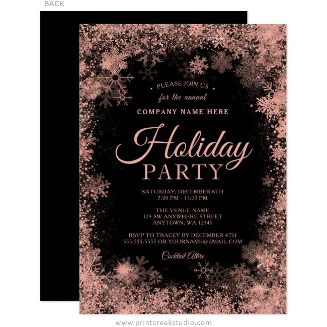 Rose Gold Snowflake Christmas Corporate Holiday Invitations