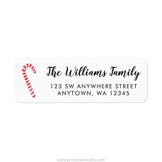 Christmas Return Address Labels.Watercolor Candy Cane Christmas Return Address Labels