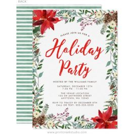 Watercolor holiday party invitations
