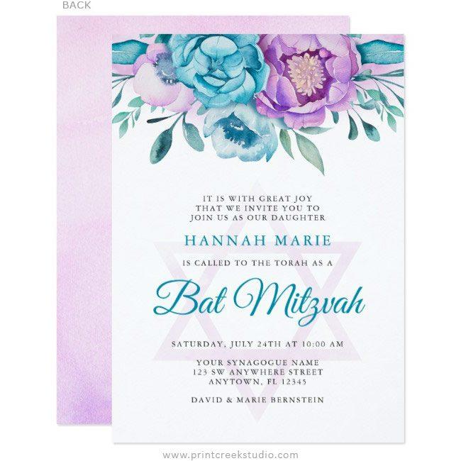 Flower Bat Mitzvah Invitations