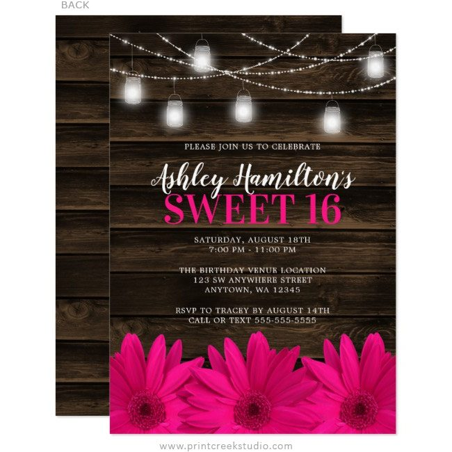 Pink Rustic Sweet 16 Invitations