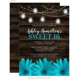 Rustic Teal Blue Sweet 16 Invitations