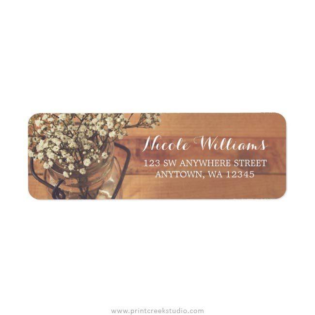 Rustic wedding return address labels