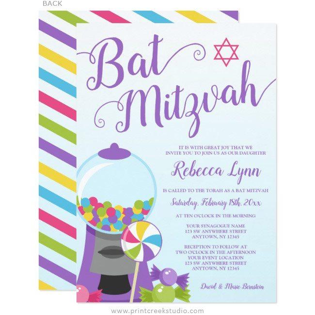 Candy Bat Mitzvah Invitations