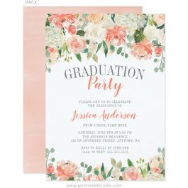 Watercolor Flower Graduation Party Invitations