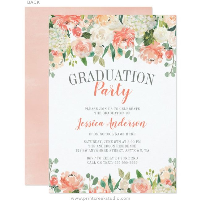 Watercolor Flower Graduation Party Invitations