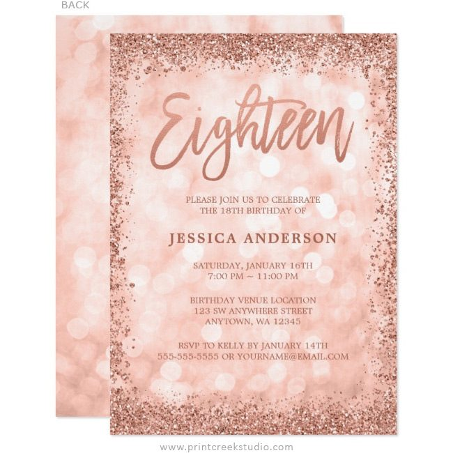 Rose gold 18th birthday invitations