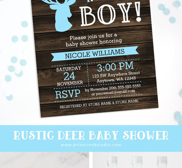 Rustic deer baby shower boy