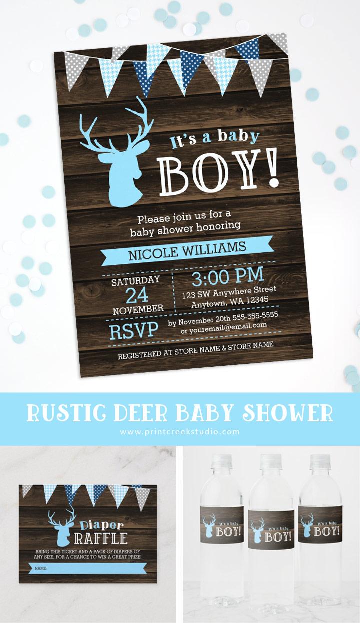 Rustic deer baby shower boy