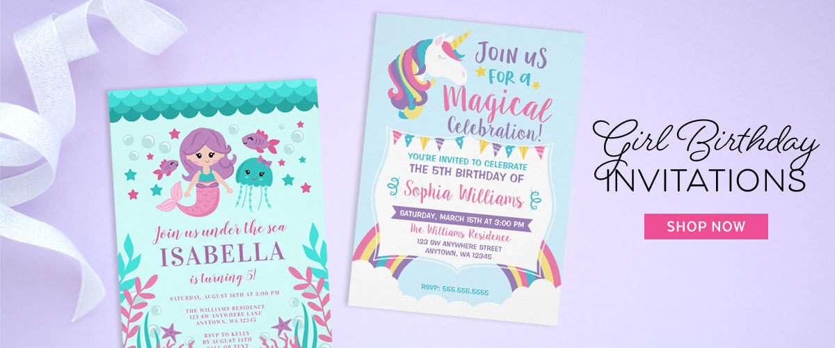 Cute girl birthday party invitations