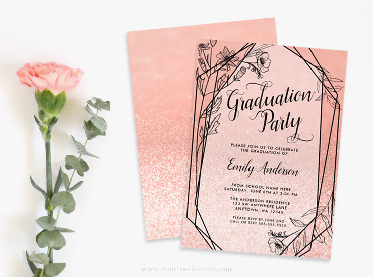Rose gold graduation party invitations.