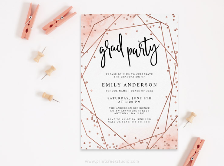 Modern rose gold graduation party invitation.