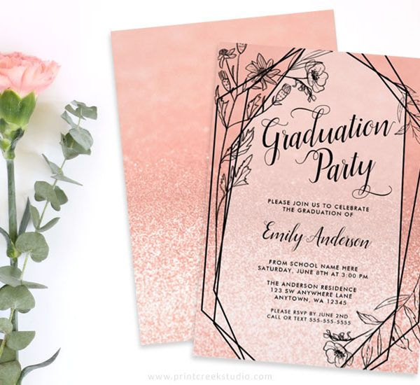 Modern Rose Gold Graduation Party Invitations