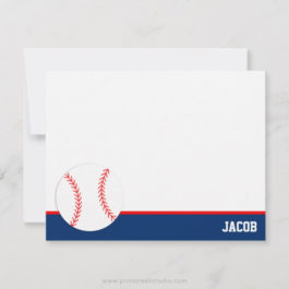 Red Blue Baseball Personalized Flat Note Card