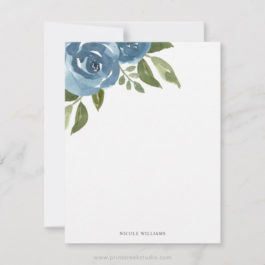 Elegant Dusty Blue Watercolor Floral Stationery Note Card